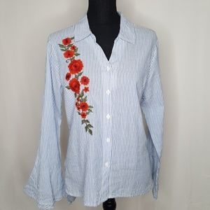 NY Collection Embroidered Bell Sleeve Shirt